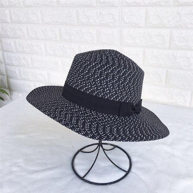 Women Summer Beach Sun hats 2018 Brand Black and white New Flat Top Straw  Hat jazz 12de253a067