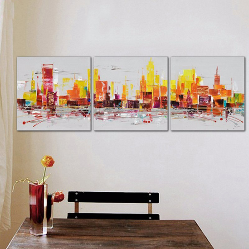 High Quality Top Art Oil Painting City Pictures Unframed 3 Panels Handmade Color Abstract Colorful Wall Decor On Canvas