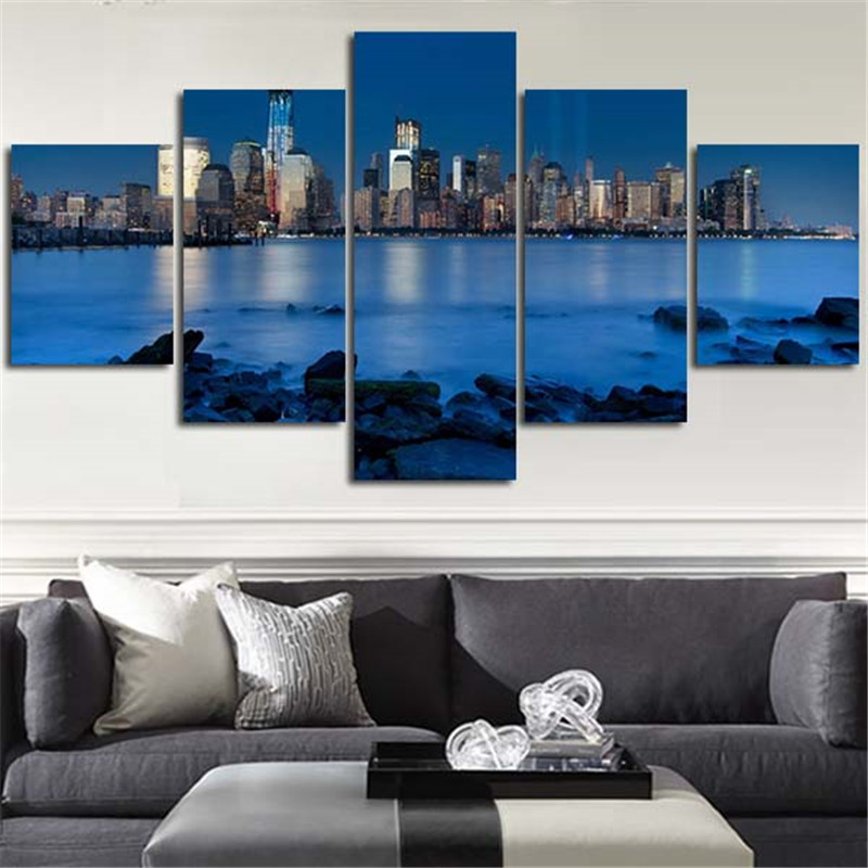 BANMU 5 Planes Wall Painting Canvas Poster Blue River Stone Is Land City Home Decoration Art Picture For Living Room ...