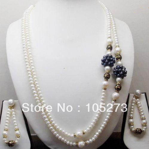 New Arriver Pearl Jewelry Set 5-20mm Natural White Black Button Freshwater Pearl Beads Necklace Earrings New Free Shipping