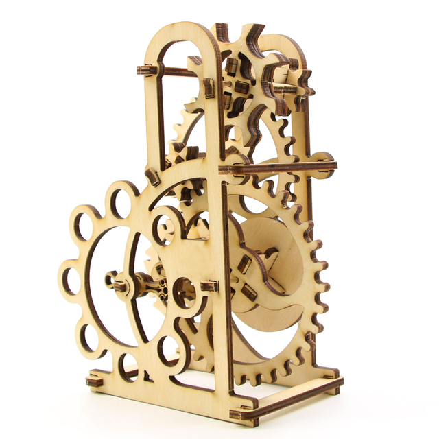 Free Shipping 1Piece DIY KIT Dynamometer Shape Self Propelled Mechanical  Wooden 3D Puzzle Set Best