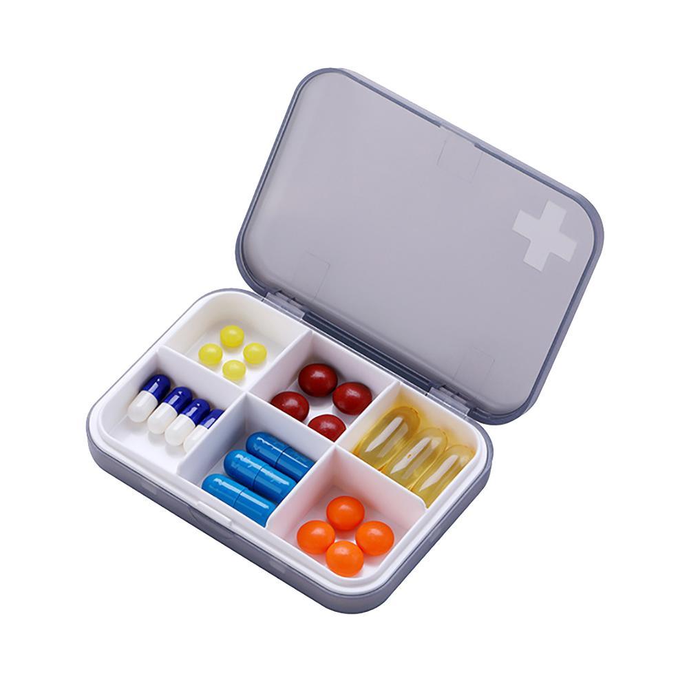 Joylife 1Pc Portable 6 Cells Travel Damp-proof Pill Medicine Drug Storage Case Box Container