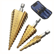 цена на 3pcs Hss Step Cone Taper Drill Bit Set Hole Cutter Metric Titanium Coated Metal Hex Stepped Drill Bits 4-12/20/32mm core drill
