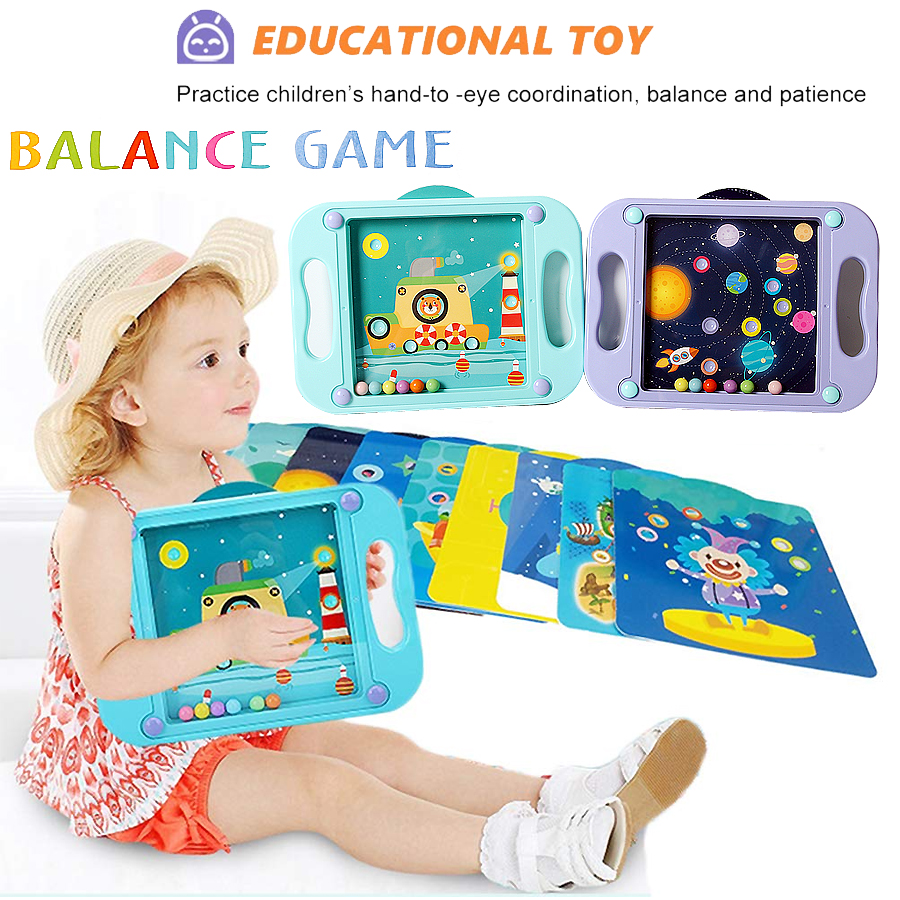 Balance Game Labyrinth Board Game Maze Puzzle Brain Teaser for Kids Mind Brain Games Kids Gifts with 10 Scenes Cards image