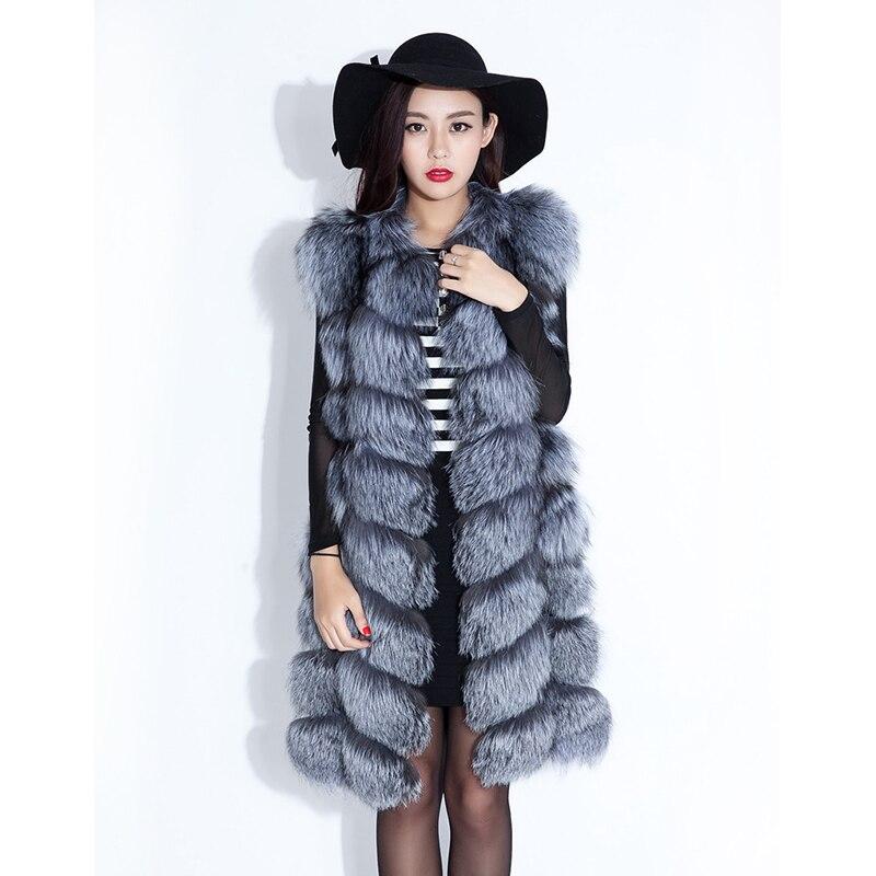 188 Réel Lady Véritable Argent Manteaux Fox Silver Pardessus D'hiver Tranchée Fourrure Gilet Femmes Tfm Survêtement FvFrwqOn
