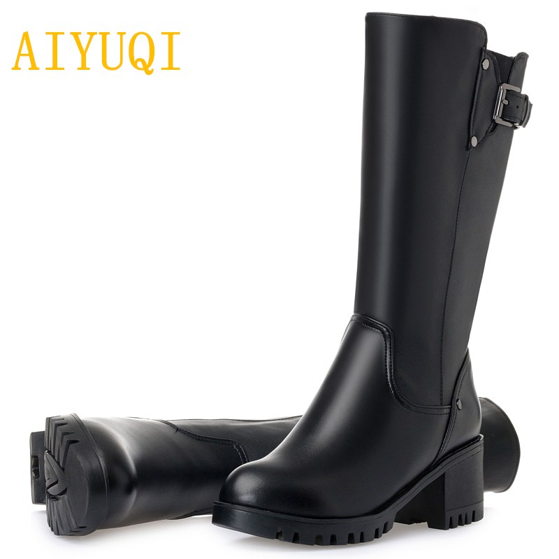 AIYUQI 2019 new genuine leather women winter boots warm thick wool women snow boots big size 41 42 43 high heel winter boots in Mid Calf Boots from Shoes