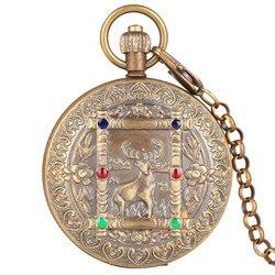 Herten Patroon Retro Automatische-hand-kronkelende Mechanische Zakhorloge Mannen Luxe Fob Horloges met Ketting Carving Unisex Klok geschenken