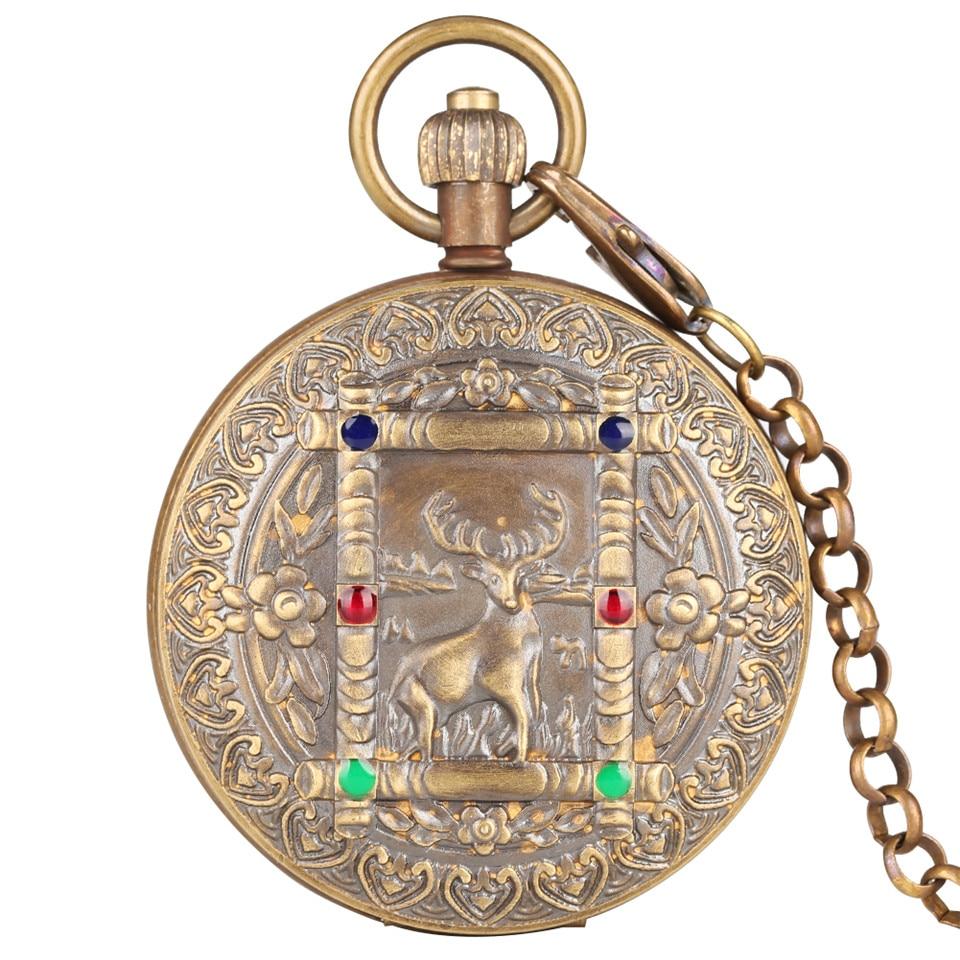 Modèle de cerf rétro automatique-remontage à la main mécanique montre de poche hommes luxe Fob montres avec chaîne sculpture unisexe horloge cadeaux