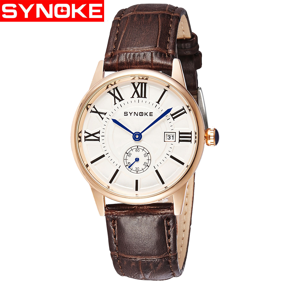 SYNOKE Quartz Men Watch Waterproof Business Man Ultra-thin Fashion Watch Small Second Dial Erkek Kol Saati Relogio Masculino