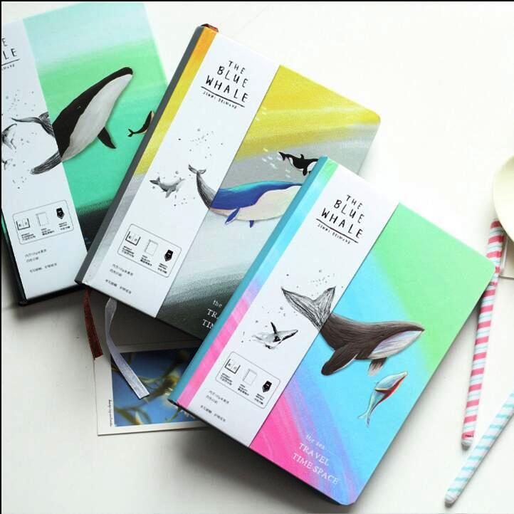 «Կապույտ Whale» ամսագիր Օրագիր Hard Cover Cute Journal Study Notebook Blank Art Papers Գրենական պիտույքներ Նվեր