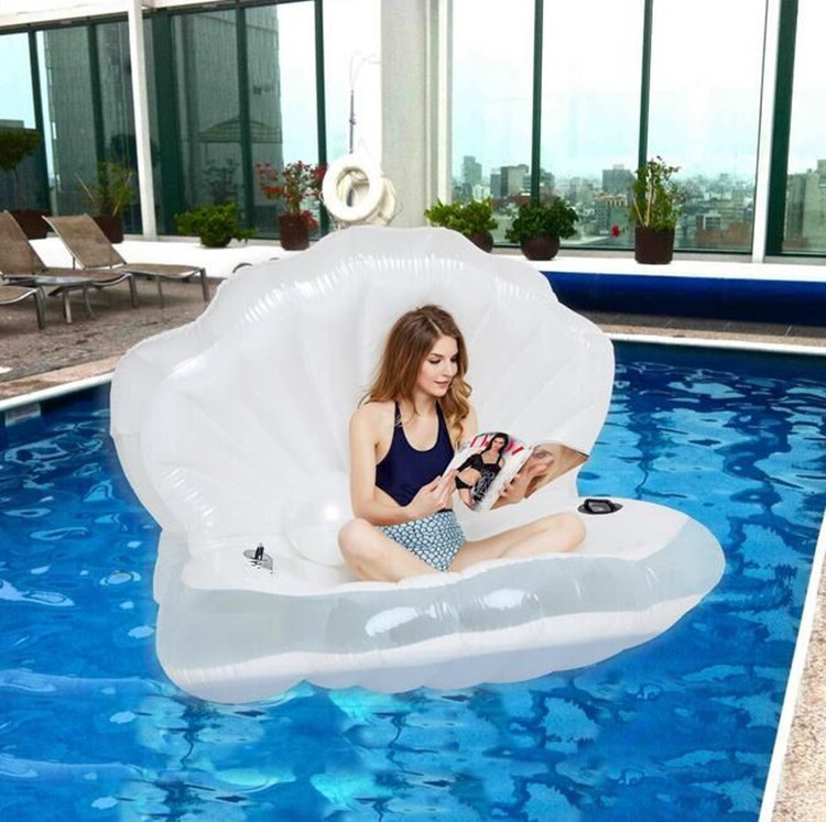 Giant Pool Float Pearl Scallops Inflatable Funny Aquatic Toys Adults Air Mattress Swim Life Buoy For Shell Bikini, 1.7*1.2M giant pool float shells inflatable in water floating row pearl ball scallop aqua loungers floating air mattress donuts swim ring