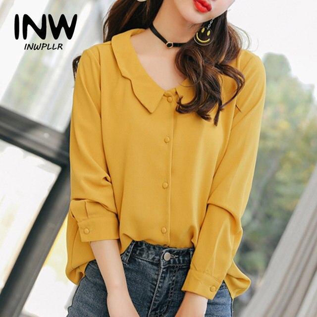 8d17a9c533a Nueva llegada mujeres camisas moda 2019 Blusa de manga larga la gasa Causal  sólido amarillo Tops