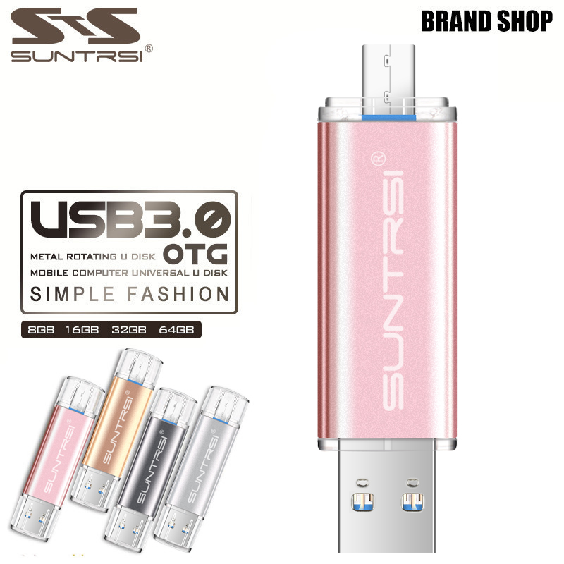 Suntrsi USB 3.0 Flash Drive 64G OTG For Smart Android Phone High Speed USB pendrive 16G 32G Real Capacity USB Stick Custom logo