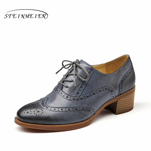 a28cff7414938 US $59.08 52% OFF|Women oxford pumps shoes vintage leather yinzo ladies  lace up Pumps oxford heels shoes for women grey shoes 2019 steinmeier-in ...