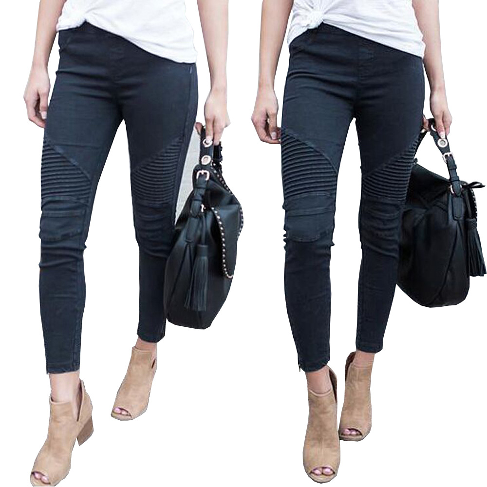 New summer hot zipper women's   jeans   high waist fashion women's trousers personality pencil pants casual pleated female   jeans