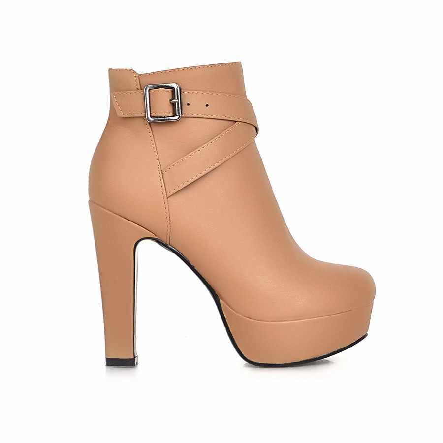 Nữ Mắt Cá Chân Giày Nền Tảng Giày Cao Gót Giày Dây Kéo Mũi Tròn Mùa Đông Nữ Giày Hoa Mai Trắng Đen Giày Người Phụ Nữ Mới 2019 giày