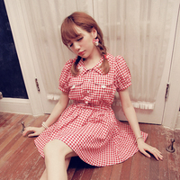 Princess Sweet Lolita Dress BoBON21 Exclusive Design The Next Door Girl Shell Embroidery Grid Light And
