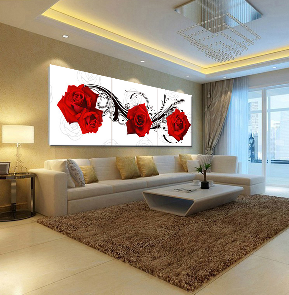 Picture oil painting roses flower living room bedroom home - Designer wall paints for living room ...
