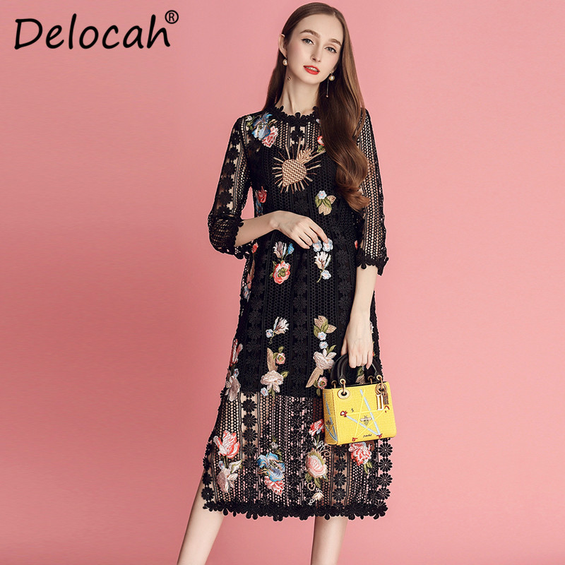 9d0cf4326c5 Créateur D été Creusent Piste Mode Robes Broderie Dentelle 2019 Noir Fleur Femmes  Vintage Delocah Dehors De ...