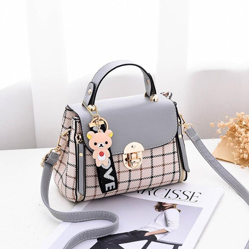 LANVERA brand women solid plaid totes hasp bear hanging flap handag hotsale lady evening purse messenger crossbody shoulder bags 4