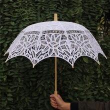 Paraguas de encaje para novia, sombrilla de YO CHO de algodón, accesorios de decoración para fiestas, Bordado hecho a mano de boda