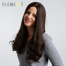 цена на Element 26 inch Long Synthetic Wig Natural Wave Middle Side Parting Dark Brown Color Heat Resistant Hair Wigs for Women