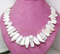 ddh003806 Good quality long big Biwa pearl necklace gem stone Fashion Jewelry