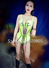 Neon Green DJ Outfit Dance Costume Stage wear Prom Party Clothing Sexy Crystals Tassel Bodysuit Female Singer Nightclub Dress