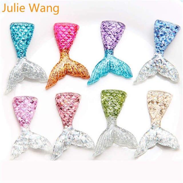 Купить julie wang 10 шт разноцветные подвески из смолы с хвостом русалки