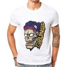 2019 Summer Men Short Sleeve T-Shirt  Grunge Zombie Printed White Trend Mens T Shirts High Quality 100% Cotton Blusa Masculina
