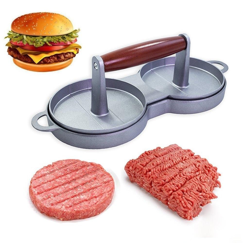 Hamburgers Mold Rice Balls/Sandwich/Meat Pie Suppress Mold Not Sticky Wood Handle Hamburgers (double)(00384)