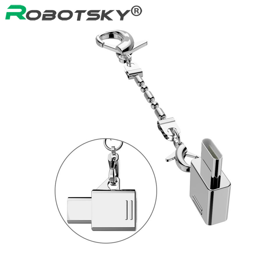Robotsky Metal USB Type C Adapter Micro USB To Type-C USB 3.1 OTG Converter For Xiaomi 4C Mi5 Samsung S8 Huawei P9 LG With Chain