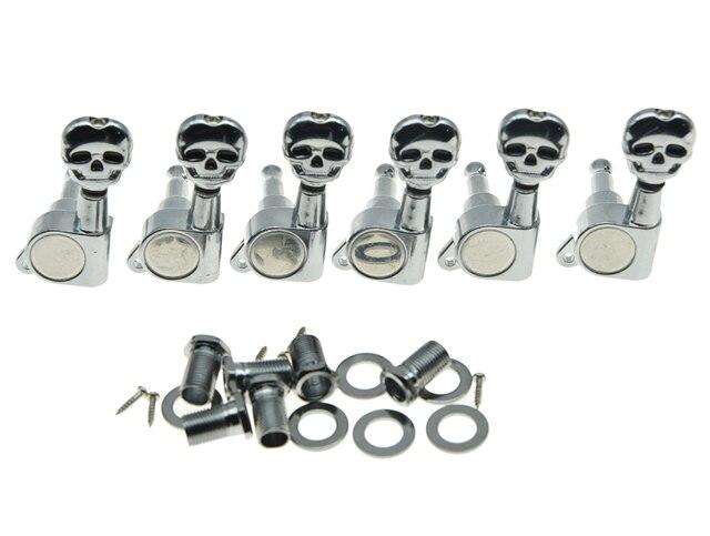 Lefty 6L Guitar Tuners Stimmschlüssel Pegs Mechaniken mit Skull Buttons