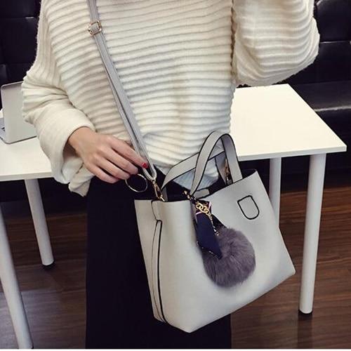 168029 Bolish Litchi Pattern Soft PU Leather Women Handbag Two ... 7b2a14bac798a