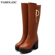 VAMOLASC New Women Autumn Winter Warm Leather Knee High Boots Square High Heel Knight Boots Platform Women Shoes Plus Size 34-43