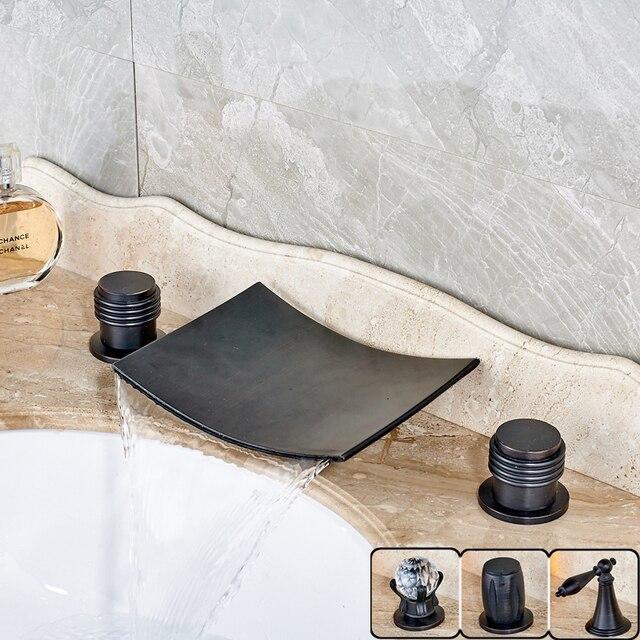 Dual Griff Messing Wasserfall Badezimmer Wanne Waschbecken Wasserhahn Zwei  Griff Deck Montiert Waschbecken Mischbatterien