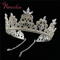 Luxury CZ Wedding Pageant Gold Tiara crown Cubic Zircon Crystal Bridal pageant Crowns Diadem for women RE3072