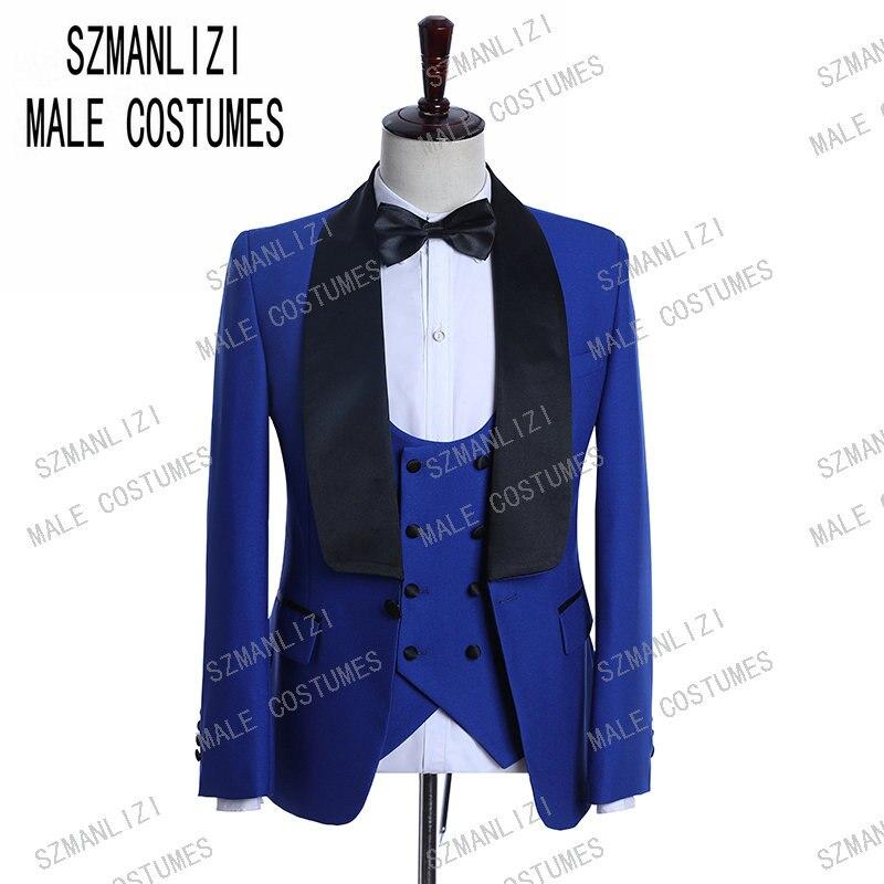 Royal Blue Tuxedo groom wedding suit slim fit 3 piece Shawl Lapel Dinner For Men