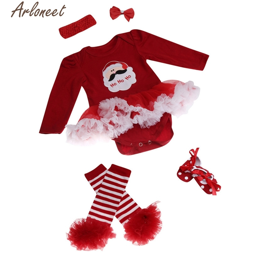 Christmas Pajamas Dress For Baby Girls Newborn Christmas Infant Baby Girl Romper Tutu Dress Sets 4Pcs Outfits Clothes Bodysuit &