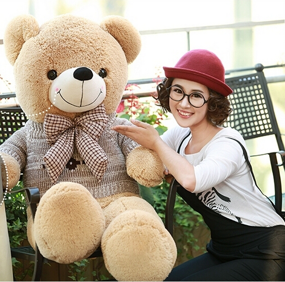 120cm Giant Large Size Retro sweater teddy bear plush toys 6 style Lowest Price Birthday gifts Christmas fancytrader biggest in the world pluch bear toys real jumbo 134 340cm huge giant plush stuffed bear 2 sizes ft90451