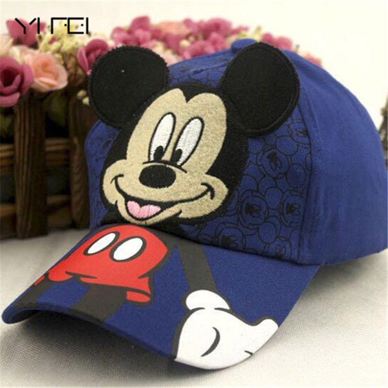 YIFEI New lovely Baseball Cap Kids Baby Boys Girls Adjustable Caps Fashion Cartoon Mickey Minnie Snapback Hat bone masculino 2016 fashion kids cartoon snapback caps flat brim child baseball cap embroidery cotton cap baby boys girls peaked cap
