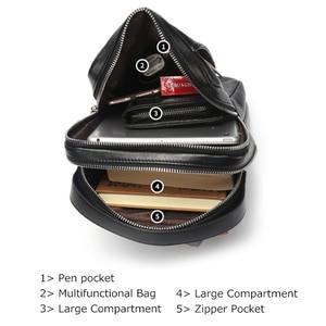 Image 5 - BISON DENIM Chest Bag Genuine Leather Crossbody Bags Men Multifunctional Zipper Shoulder Bag Casual Men Chest Waist Pack N2425