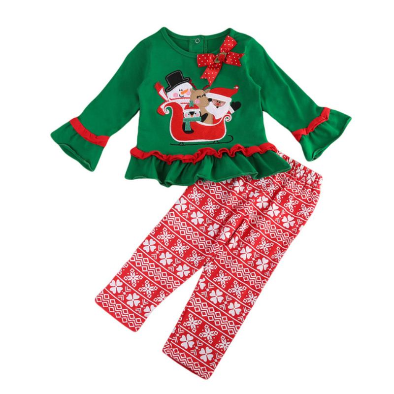 0af9c02415 Christmas Baby Girls Boys Clothes Sets Long Sleeve T-Shirt Tops Pants  Cotton Cute Infant