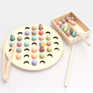 Монтессори математическая игрушка клип бусины Рыбалка Магнитная червячная игра родитель-ребенок интерактивные деревянные игрушки для дет...