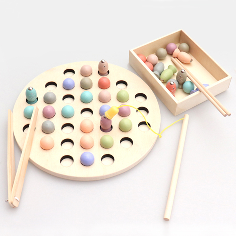 Montessori Math Toy Clip Beads Fishing Magnetic Worm Game Parent-Child Interactive Wooden Toys For Children Kids Educational Toy