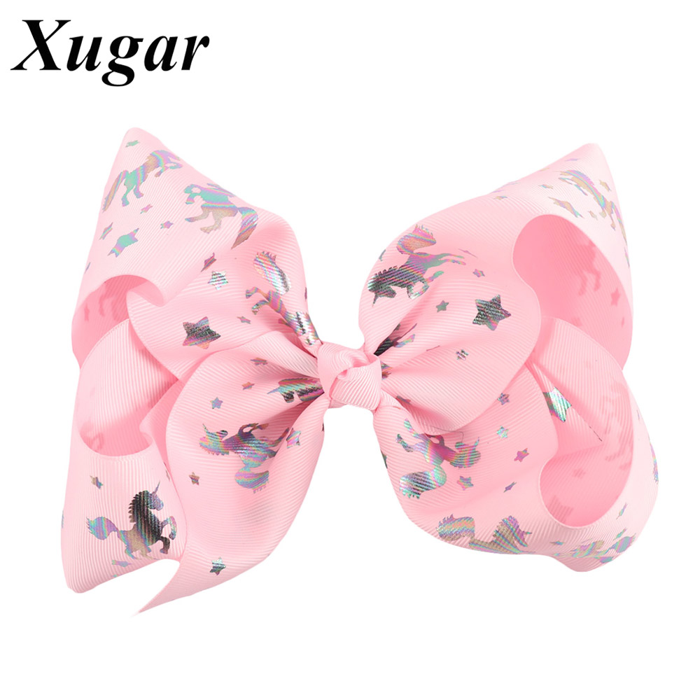 """7/"""" Jumbo Unicorn Bows With Hair Clips For Girls Kids Ribbon Hairgrips Knot Bow"""