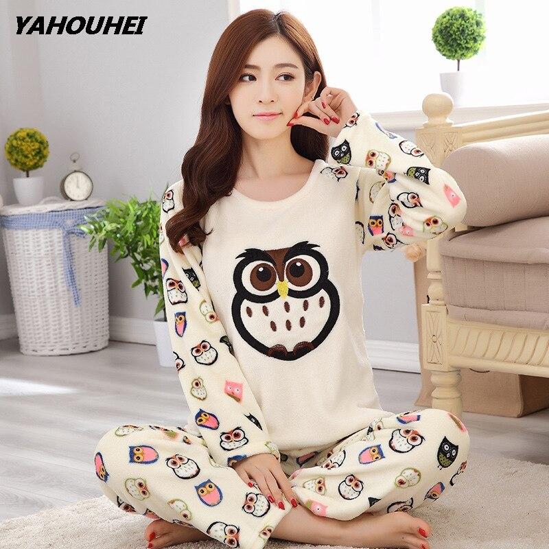 Casual Flannel Women   Pajama     Sets   Autumn Winter Cartoon Warm Pyjamas   Set   Homewear Tops+Pants Nightwear Sleepwear Female   Pajama