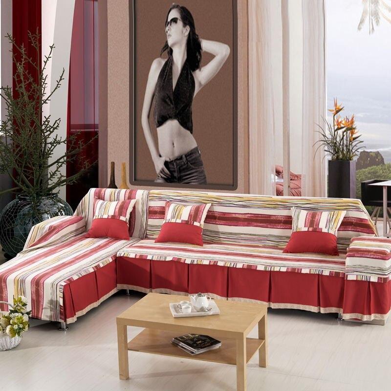 2016 Stripe pattern cotton slipcover sofa cover double combination