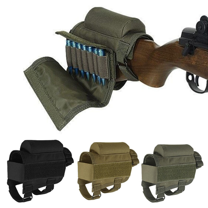 Adjustable Outdoor Tactical Butt Stock Rifle Cheek Rest Pouch Bullet Holder Nylon Riser Pad Ammo Cartridges