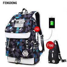 Fengdong Causal Laptop Backpack School Travel Rucksack Business Daypack for Men Women With Small Bag